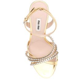 Miu Miu Gold Metallic Crystal-embellished Sandals Size EU 37 390866