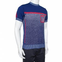 Prada Navy Blue & Red Knit Technical Mouline Sweater L 391491