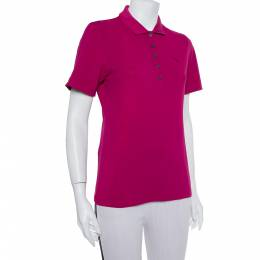 Burberry Brit Pink Logo Detail Polo T-Shirt M 390728