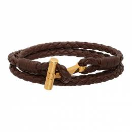 Tom Ford Brown Woven Leather T-Wrap Bracelet JM0005T-SCOBR