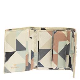 Aigner Multicolor Diamond Print Leather Trifold Wallet 392479