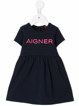 Aigner Kids платье-футболка с логотипом 54241