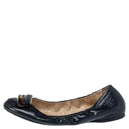 Prada Sport Navy Blue Patent Leather Fringe Detail Scrunch Ballet Flat Size 40 392488
