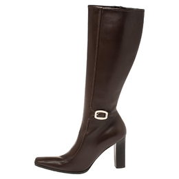 Prada Brown Leather Buckle Detail Knee Length Boots Size 41 388710