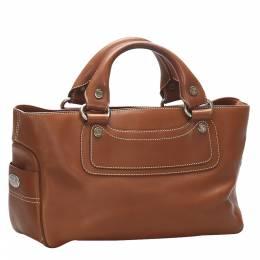 Celine Brown Leather Boogie Satchel Bag 354016