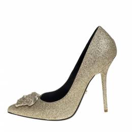 Versace Gold Glitter Fabric Medusa Pointed Toe Pumps Size 40 393108