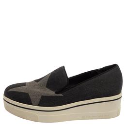 Stella McCartney Dark Grey Star Binx Canvas Platform Slip-On Sneaker Size 40 393396