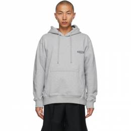 Wooyoungmi Grey Embroidered Logo Hoodie TS31