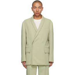 Wooyoungmi Green Concealed Double-Breasted Blazer CJ06