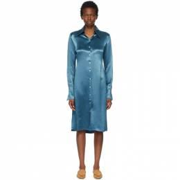 Acne Studios Blue Satin Long Sleeve Dress A20268-