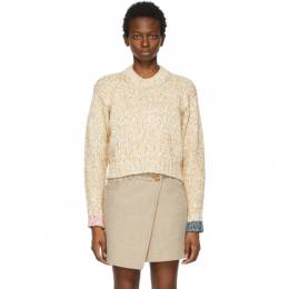 Acne Studios Off-White and Tan Spongy Knit Sweater A60252-