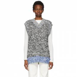 Acne Studios White and Black Chunky Sweater Vest A60250-