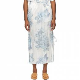 Acne Studios White and Blue Satin Pleated Floral Skirt AF0183-