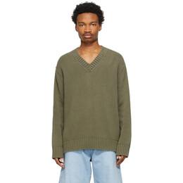 Acne Studios Khaki Cotton V-Neck Sweater B60184-