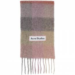 Acne Studios Pink and Purple Large Check Scarf CA0084-
