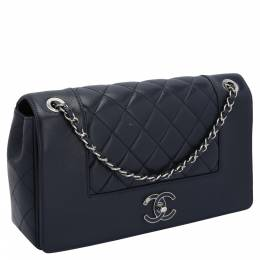 Chanel Navy Blue Caviar Leather Quilted Medium Boy Double Flap Bag 393667