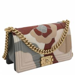 Chanel Multicolor Lambskin Leather Limited Edition Patchwork Camelia Boy Bag 393666