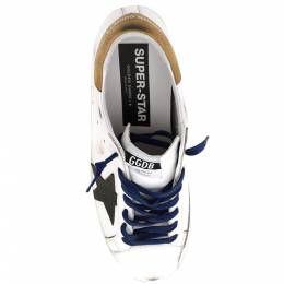Golden Goose White/Brown/Black Leather Classic Superstar Sneaker Size EU 44 394138
