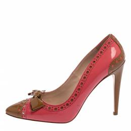 Miu Miu Pink/Brown Patent Leather Bow Pointed Toe Pumps Size 39.5 394724
