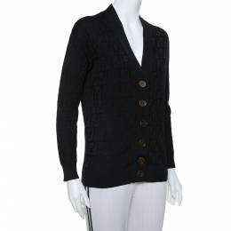 Fendi Black Logo Intasia Knit Button Front V-Neck Cardigan XS 394091