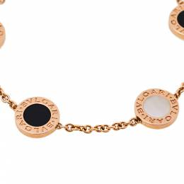 Bvlgari Onyx Mother of Pearl 18K Rose Gold Station Bracelet 394903