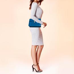 Bvlgari Blue Leather Medium Serpenti Forever Flap Shoulder Bag 393034
