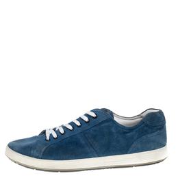 Prada Sport Blue Suede Low Top Sneakers Size 46 393853