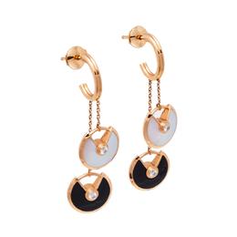 Cartier Amulette de Cartier Diamond Onyx Mother of Pearl 18K Rose Gold Earrings XS 393803