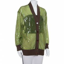 Fendi Green Tulle Sequin Embellished V- Neck Cardigan S 392696