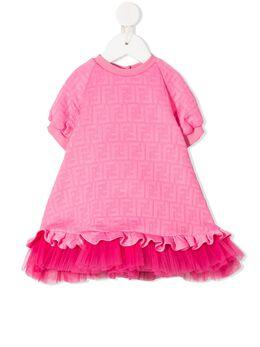 Fendi Kids платье с принтом FF BFB332A7LN