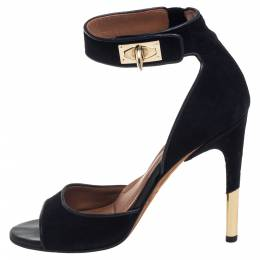 Givenchy Black Leather Shark Tooth Ankle Strap Sandals Size 39.5 393369