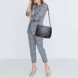 Chanel Grey Ombre Quilted Leather Large Boy Flap Bag 394115