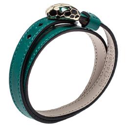 Bvlgari Serpenti Forever Green Leather Double Wrap Bracelet 395044