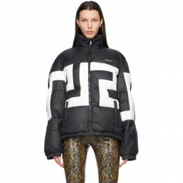 Versace Black Down Hooded Greca Puffer Jacket A88542_A233255_A1008