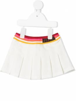 Fendi Kids юбка со складками и логотипом FF BFE019AVP