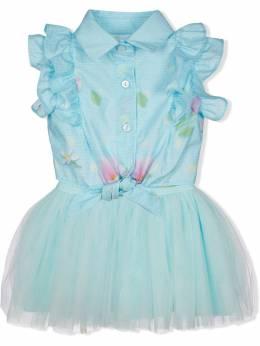 Lapin House платье-рубашка с подолом из тюля 211E3278