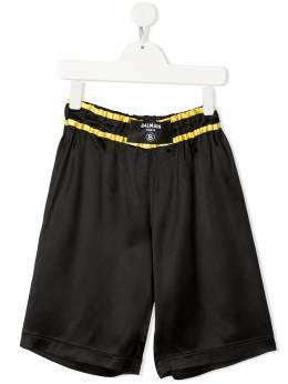 Balmain Kids logo-patch boxing-style shorts 6O6929OD940