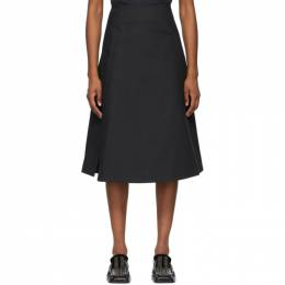 Jil Sander Black Pique Structured Skirt JSPS351306_WS241600