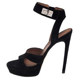 Givenchy Black Suede Shark Lock Sandals Size 39 395340
