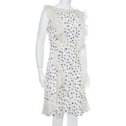 Oscar De La Renta White Painted Effect Lace Ruffle Detail Short Dress M 395229