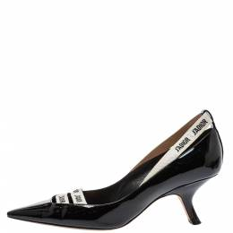 Dior Black Patent Leather J'adior Ribbon Pointed Toe Pumps Size 39 395784
