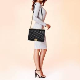 Chanel Black Quilted Leather Large Boy Flap Bag 395289