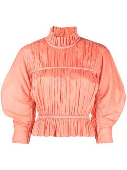 Alberta Ferretti плиссированная блузка с высоким воротником и баской A02070128