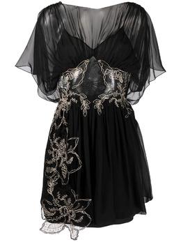 Alberta Ferretti полупрозрачное платье с цветочной вышивкой V04160114