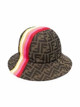 Fendi Kids FF-logo striped sun hat JUP009AF11