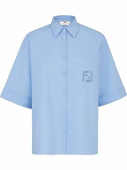 Fendi рубашка свободного кроя с вышитым логотипом FF FS7405A5YM