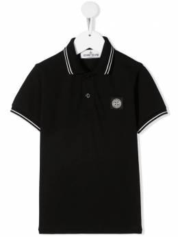 Stone Island Junior рубашка поло с нашивкой-логотипом 741621348