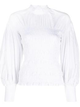 Ganni блузка со сборками и пышными рукавами F58216180