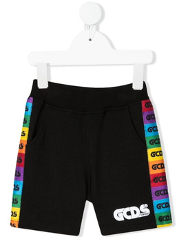 GCDS Kids rainbow-stripe logo track shorts 027960