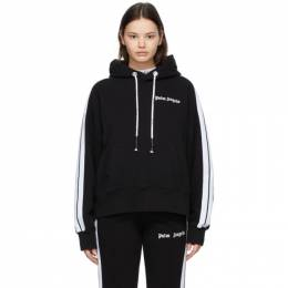 Palm Angels Black and White Track Hoodie PMBB058S21FLE0091001